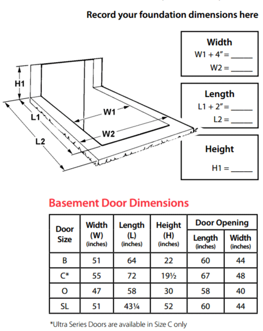 Bilco Ultra Series Basement Door High Density