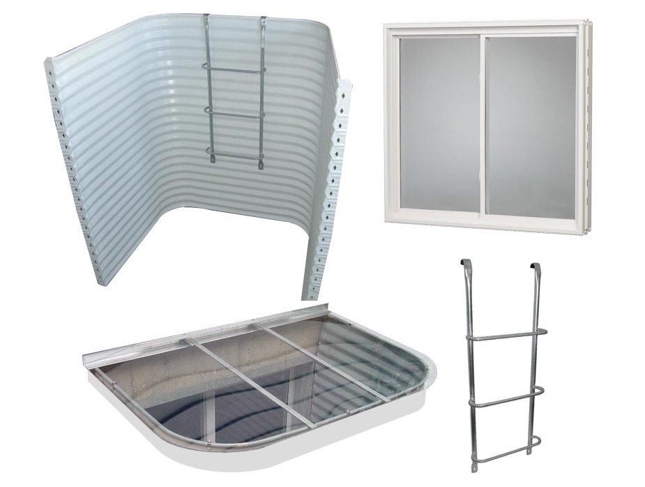 Complete Egress Window Kit White Window Well Window