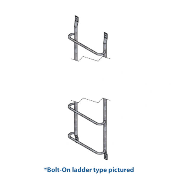 Example of a bolt-on ladder for a deep window well